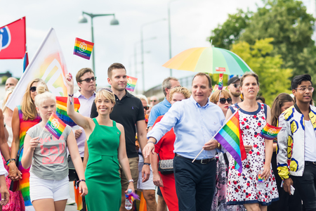 STOCKHOLM, SWEDEN – JULY 30, 2016: Pride parade with the leader of Socialdemokraterna (Swedish political party), Stefan Lofven