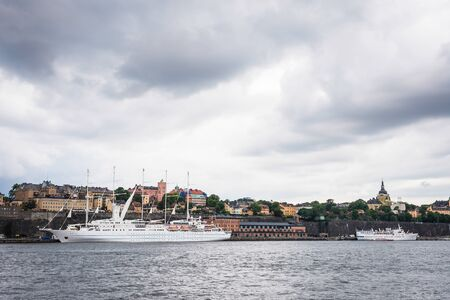 View over Södermalm district in Stockholm, Sweden, seen from water, Baltic sea