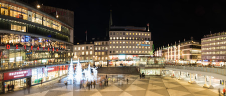 STOCKHOLM, SWEDEN - DECEMBER 9, 2016: Night view over Sergels Torg decorated with moose and trees sculptures made from led lights during Christmas season