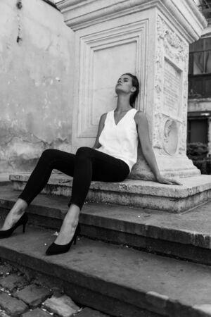 Black And White Portrait Of Beautiful Girl. Foto de archivo
