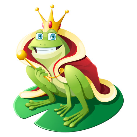 Frog wearing gold crown and kings Cloack holding wand, sitting on lotus leaf.