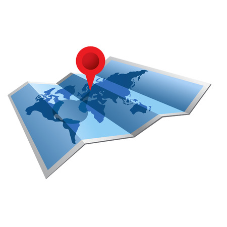 A world map folded with a red pin on top.