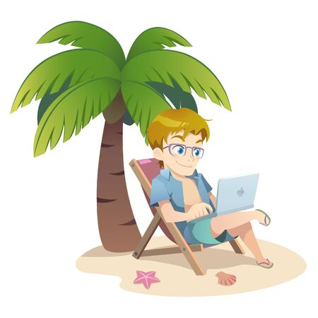 A guy typing on laptop at beach.