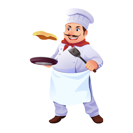 A Chef Cooking an Omelet wearing chef outfit. Illustration