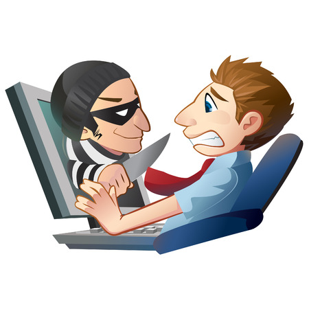 Internet scammer popping out from computer screen. Illustration