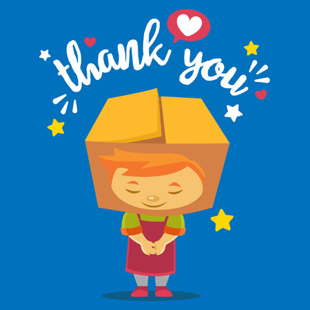 A package box mascot bowing saying thank you. Vector illustration. Illustration