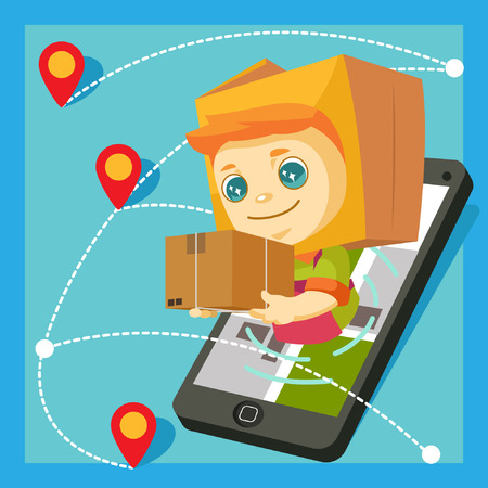 A mascot with package head delivering pakage via mobile phone. Illustration