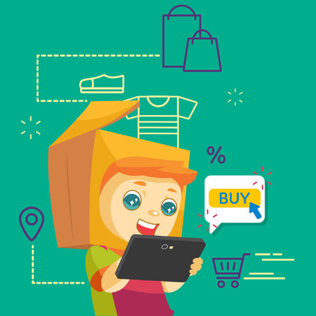 A mascot with package head online shopping using tablet. Illustration