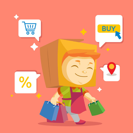 A smiling mascot box carrying shopping bags with sale icons