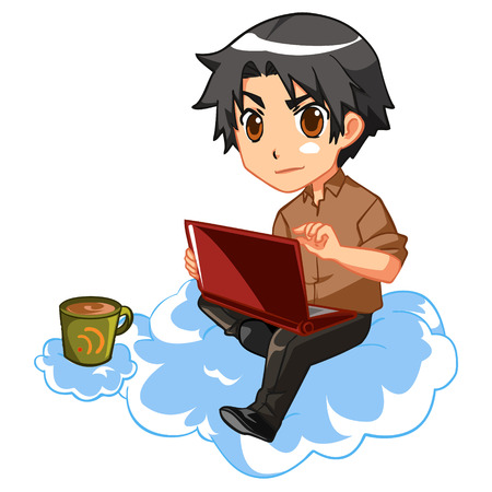 Anime style character typing on laptop in the cloud Illustration
