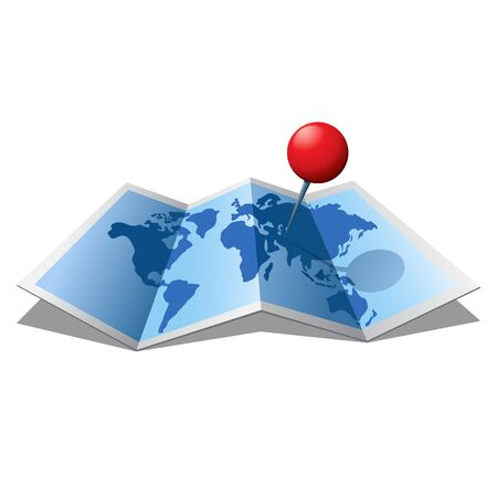 Folder 3D map with a red pin