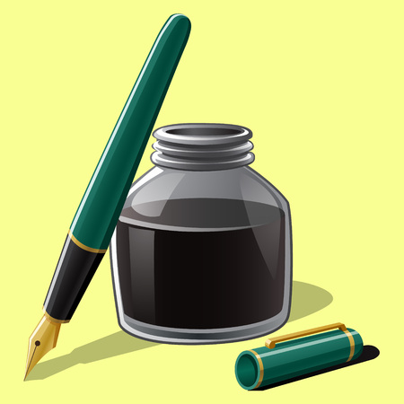 Realistic fountain pen with bottle ink
