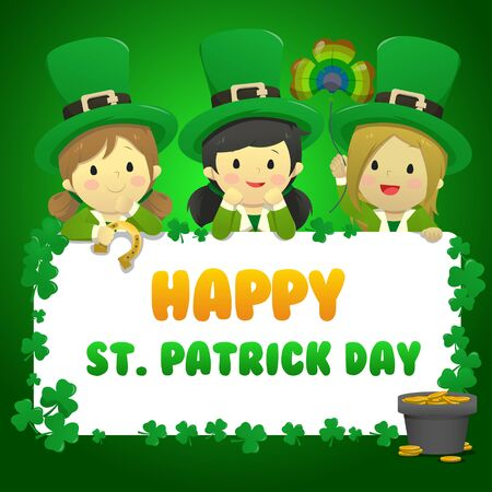 St Patrick greeting card featuring 3 kids in Leprechaun costume