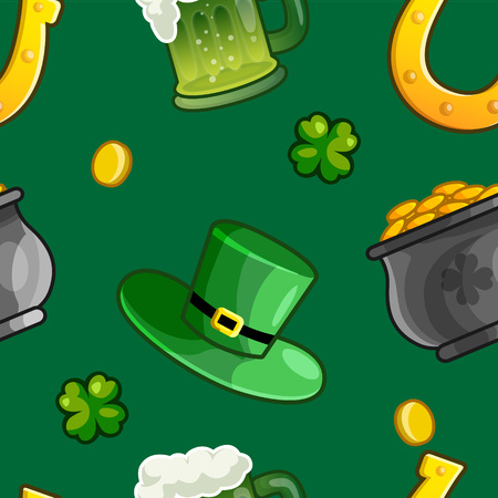 Seamless Saint Patrick Day pattern of horse shoes, top hat, gold pot, clover and gold coins