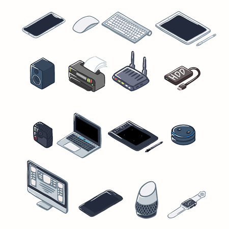 Electonic Devices Isometric Doodle