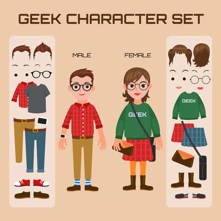 Geek Character Set Illustration