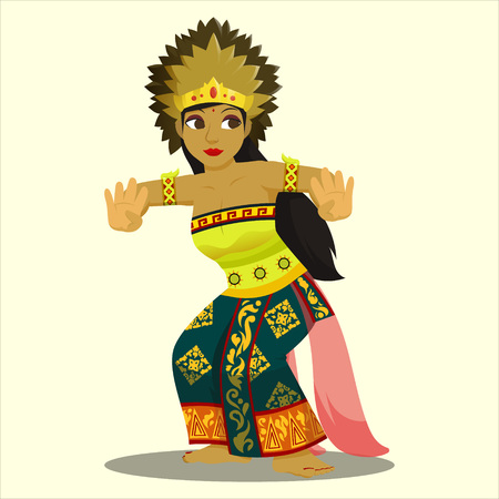 Balinese Dancer with colorful attire Illustration