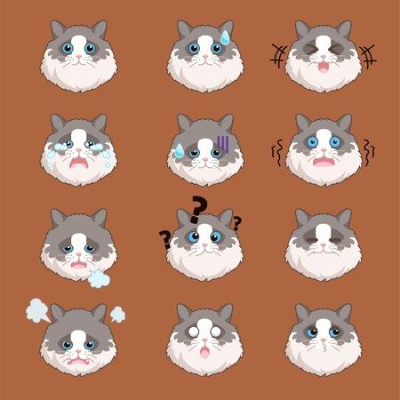 Ragdol Cat Sticker Set Illustration