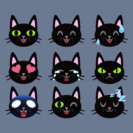 Set of Black cat emoticon sticker isolated