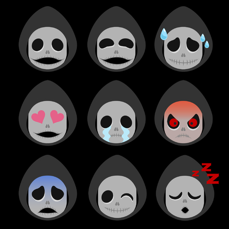 Set of Death Emoticon Sticker Isolated