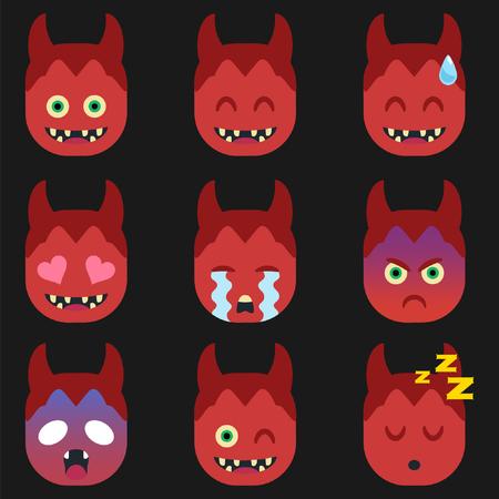 Set of Devil  Emoticon Sticker Isolated