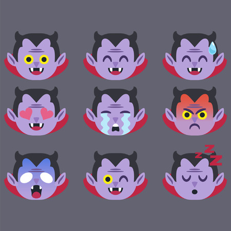 Set of Dracula  Emoticon Sticker Isolated Banque d'images - 117996890