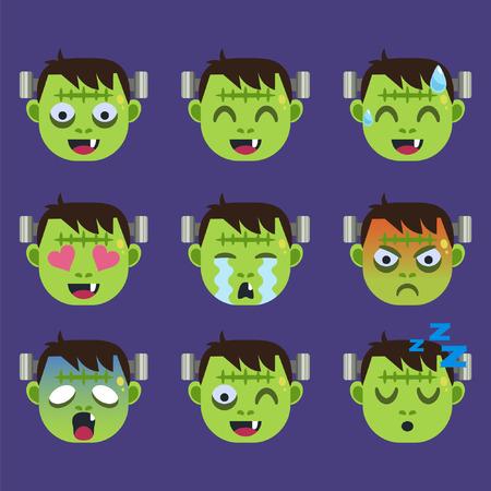 Set of Frankenstein  Emoticon Sticker Isolated