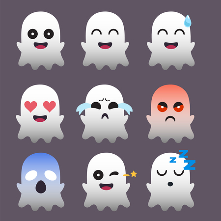 Set of Ghost  Emoticon Sticker Isolated