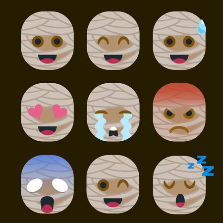 Set of Mummy  Emoticon Sticker Isolated