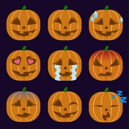 Set of Jack-O-Lantern  Emoticon Sticker Isolated