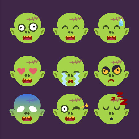 Set of Zombie Emoticon Sticker Isolated