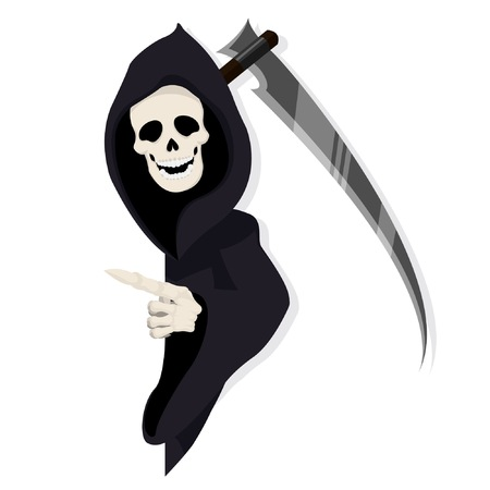Death Reaper Character Pointing Behind Paper Illustration