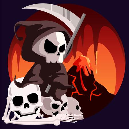 Death Grim Reaper Sit In Hell Illustration