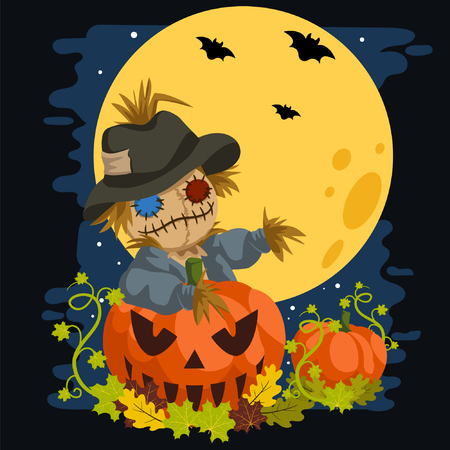 Scarecrow In a Full Moon Behind Pumpkins