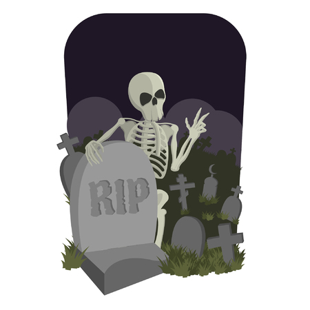 Skeleton in A Cemetery Illustration