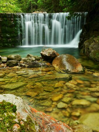 Waterfalls Lake Emerald Forest Landscape photo