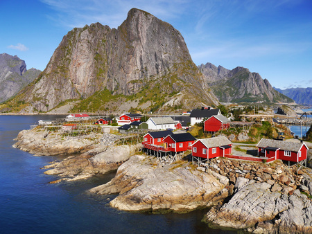 Lofoten, Norway. View of fishing village Reine on the Lofoten Islands in Norway photo