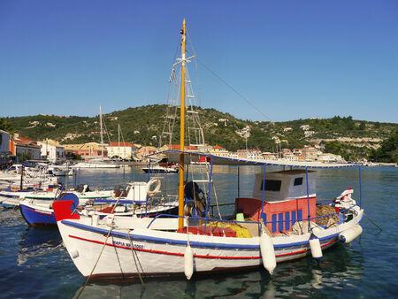 Traditional Greek fishing boats in port Gaios, Paxos Island