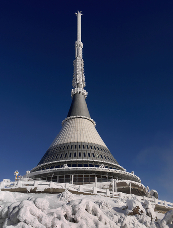 m hotel: Jested tower, transmitter and mountain hotel, altitude 1012 m, Liberec District, Czech Republic, circa February 2014