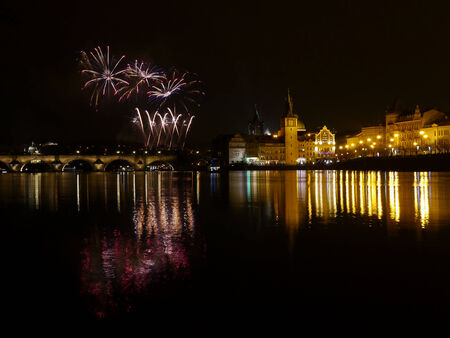 Fireworks in Prague, Czech Republic photo