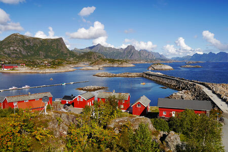 rorbuer: Lofoten typical village on the coast. Norway