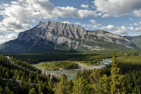 Glacial river and mountains. Canadian Rocky Mountains