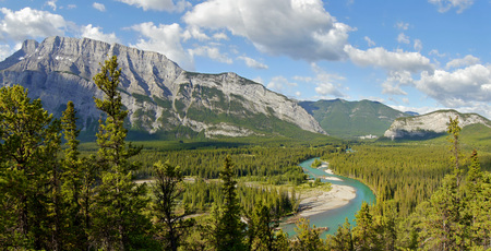 glacial: Glacial river and mountains. Canadian Rocky Mountains