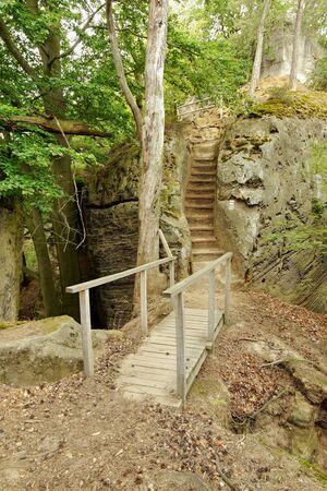 geologists: Sandstone rock tower. Boheminan Paradise National Park