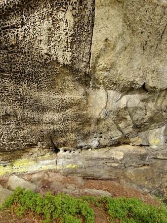 geologists: Sandstone rock - stone structure. Czech Paradise national park