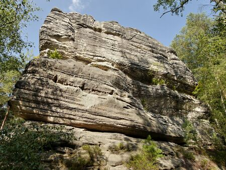 geologists: Sandstone rock tower. Czech Paradise national park