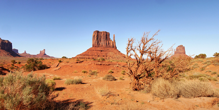 Monument Valley in the morning red light Stock Photo