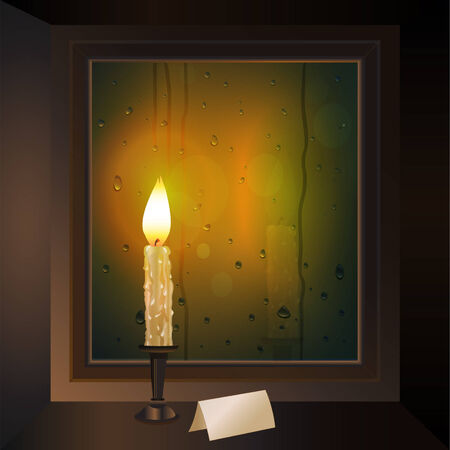 rain window: candle burns on the window with a card outside the rain comes Illustration