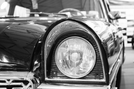 Black and white style of old-fashioned black car photo