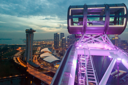 singapore city: Cityscape view from Singapore Flyer Editorial